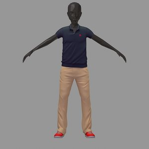 avatar casual set grey 3D model