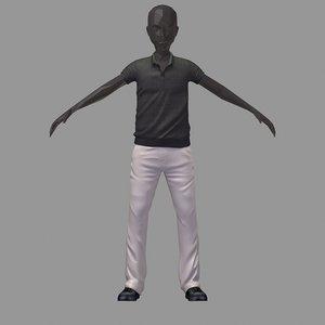 avatar casual set grey 3D model