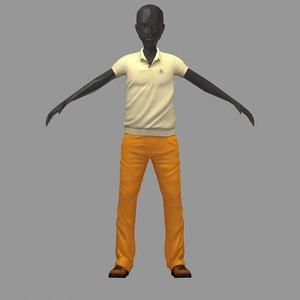 3D avatar casual set lime model