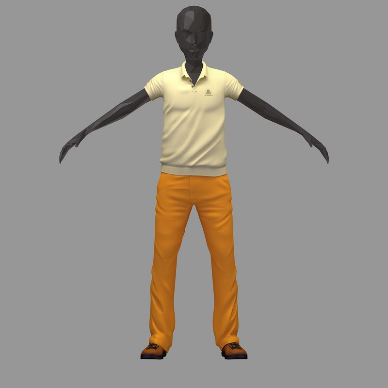 3D avatar casual set lime model