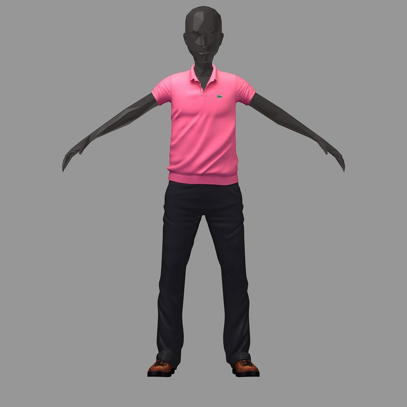 avatar casual set pink 3D model