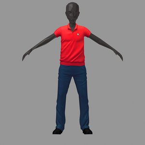 3D avatar casual set red model