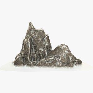 3D model snowy rock snow
