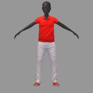 3D avatar casual set red