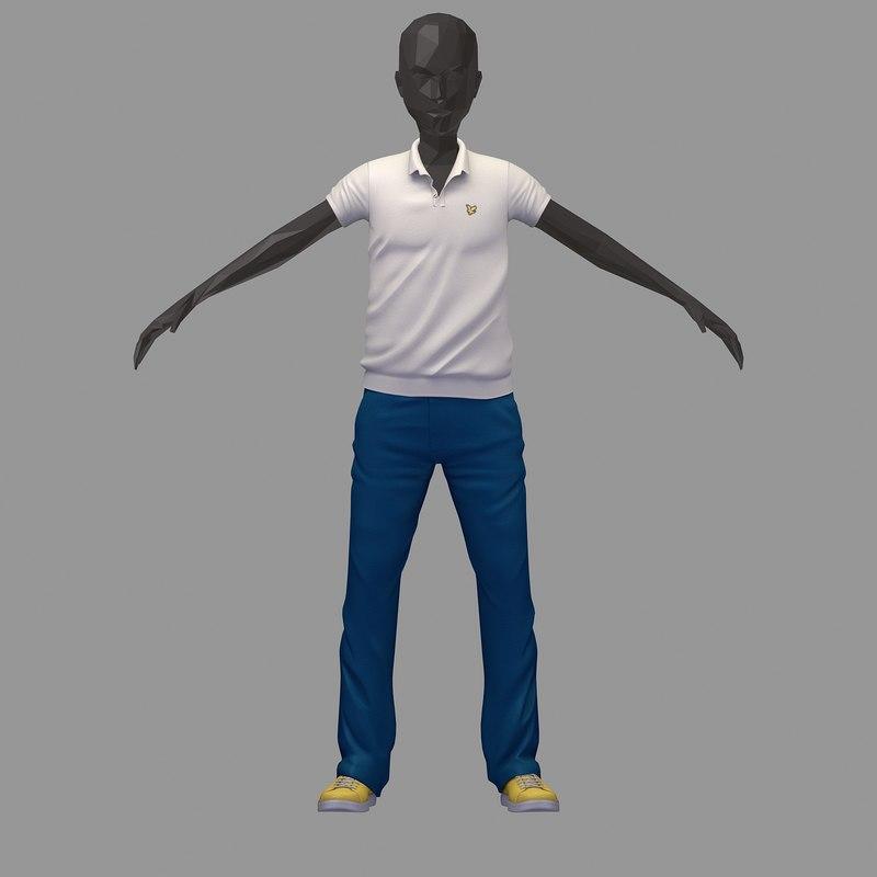 avatar casual set white 3D model