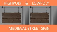 Medieval Street Sign (Low- & Highpoly)