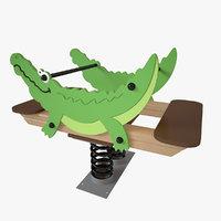playground spring crocodile 3D model