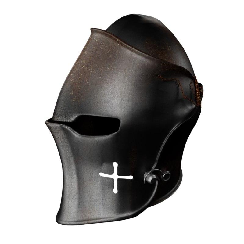 medieval helmet dark visored 3D model