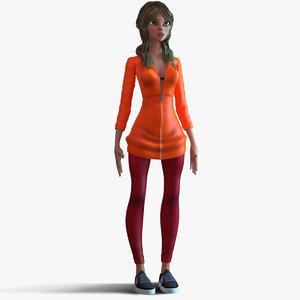 3D cartoon girl rig model