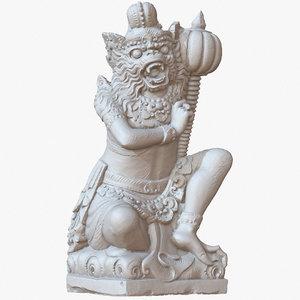 sculpture bali monkey warrior 3D model