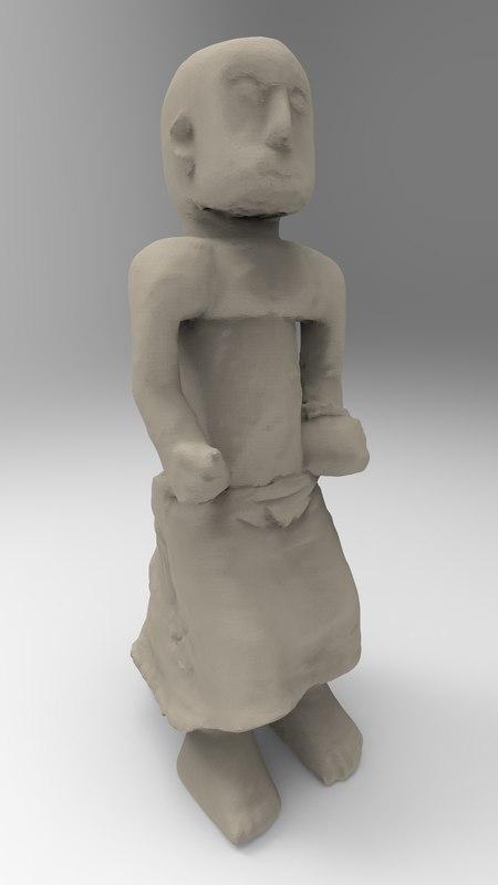 3D nigerian figurine statue model
