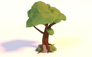 low-poly tree 3D model