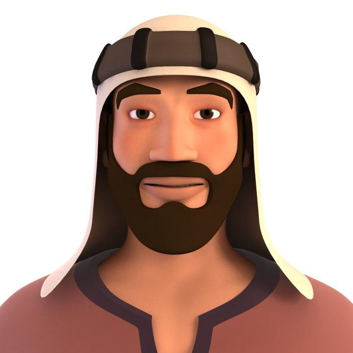 3D bedouin man