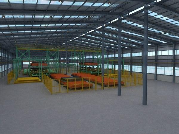 warehouse interior factory scene 3D model