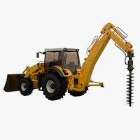 backhoe earth auger 3D model