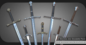 pbr swords medieval weapons 3D