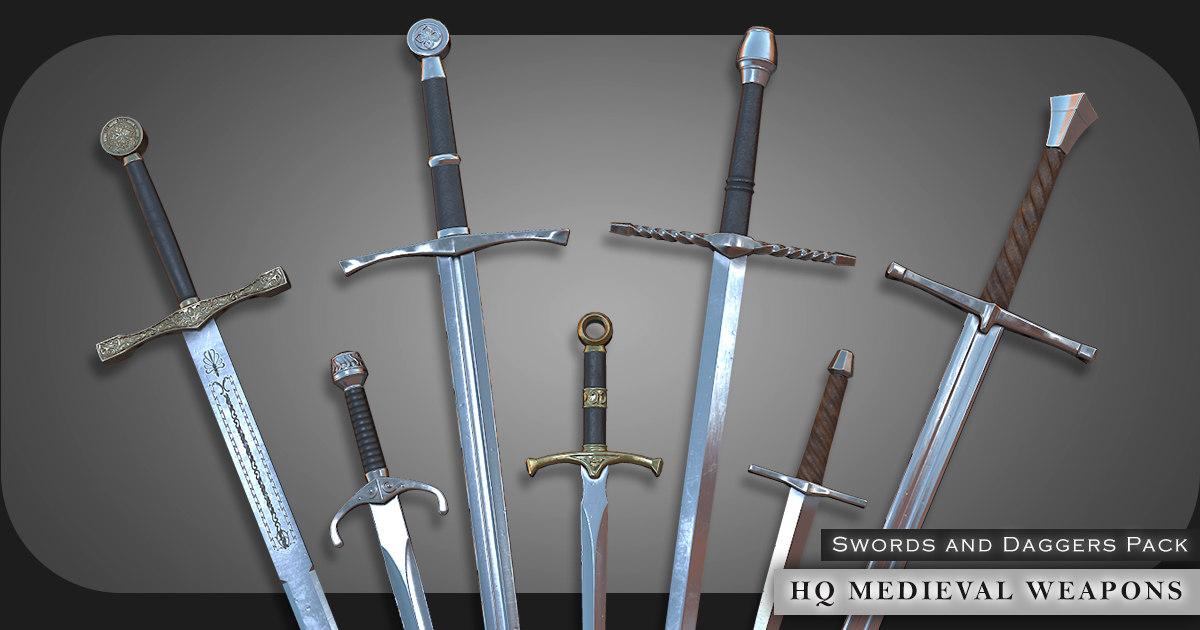 pbr swords medieval weapons 3D