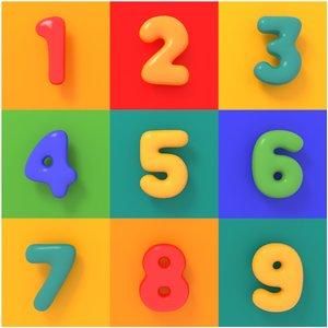 3D alphabet numbers model