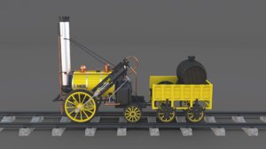 3D model steam locomotive rocket engine