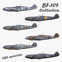 Collection 3D model BF-109 German fighter PBR materials