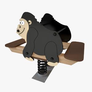 3D model playground spring gorilla