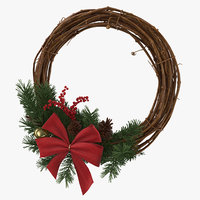 3D christmas wreath 01