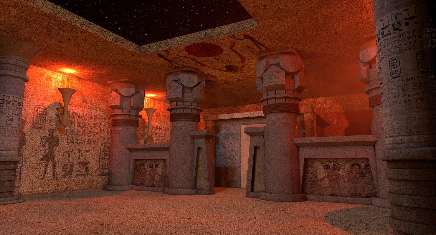 3D model egyptian temple night environment