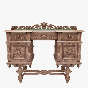 writing desk antique 3D model