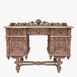 writing desk antique 3D model