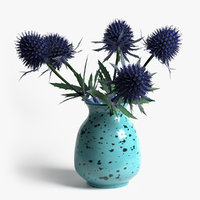3D model photorealistic eryngium vase