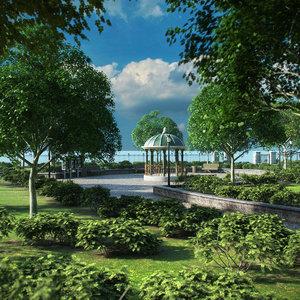 3D park trees vegetation