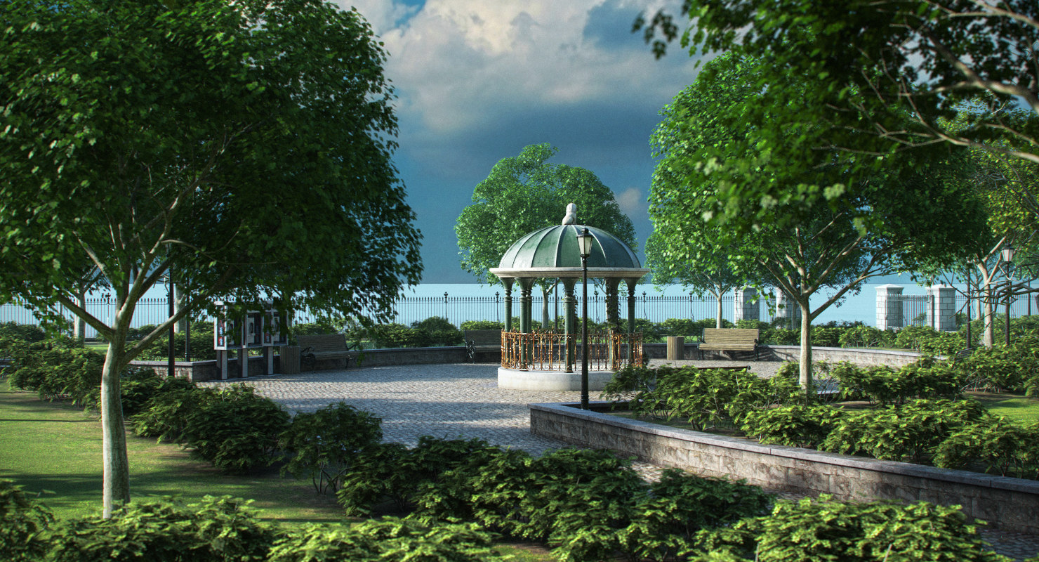 3D park trees vegetation