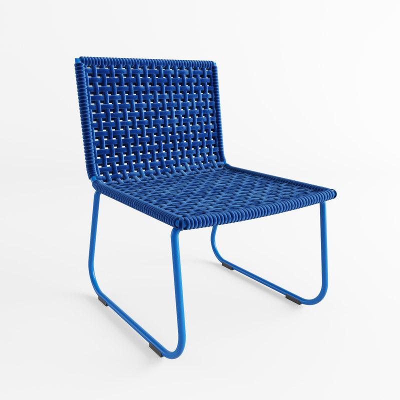 modern blue chair 3D model