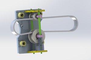 3D belt tightening pulley model