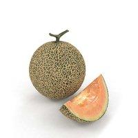 3D melon cantaloupe charentais