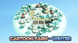 cartoon farm - winter 3D model