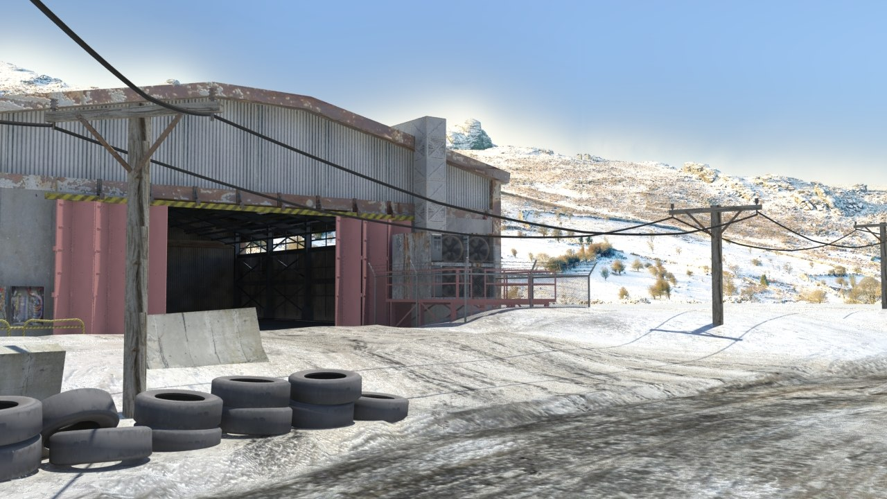 snow environment forklift 3D