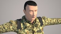 3D cat rigged soldier model