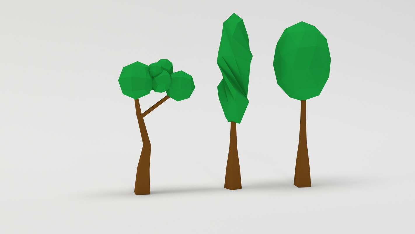 low-poly trees 3D