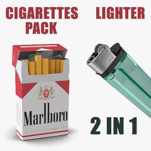 3D cigarettes pack marlboro lighter