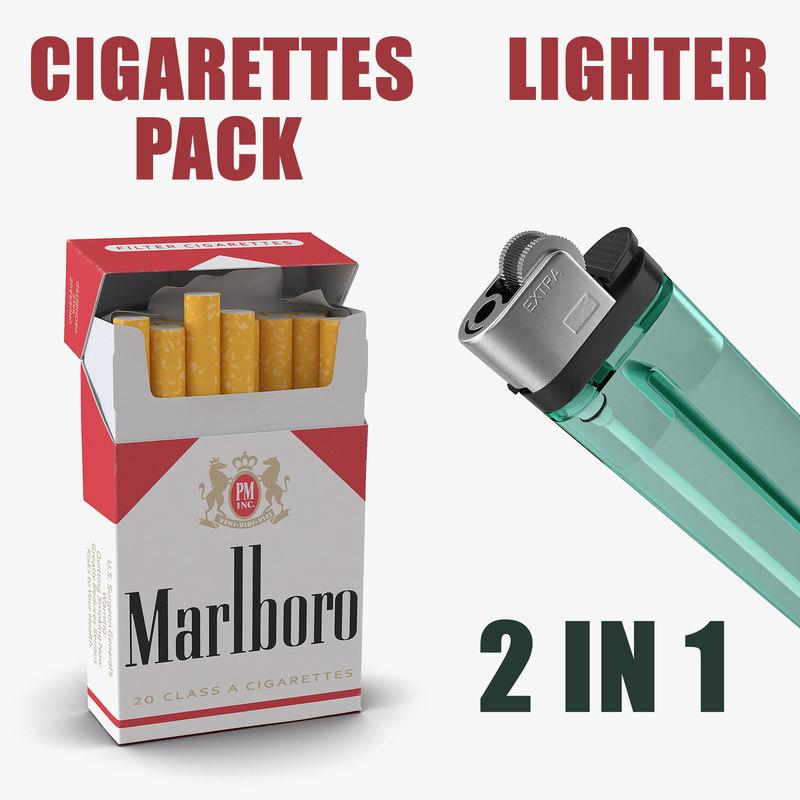 Cigarettes Pack Marlboro and Lighter 3D Models