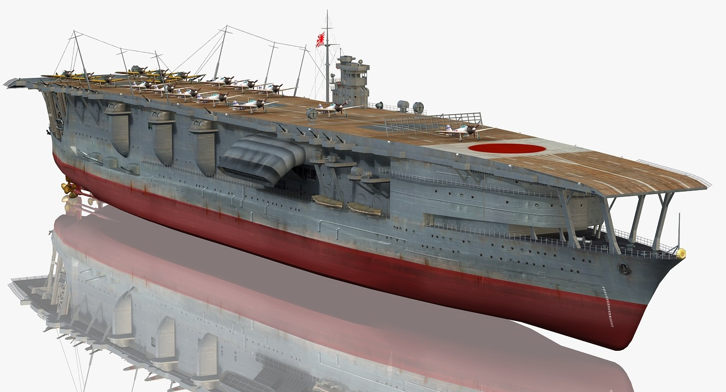 3D japanese aircraft carrier akagi model - TurboSquid 1227288
