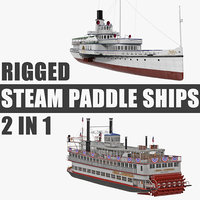 rigged steam paddle ships 3D model