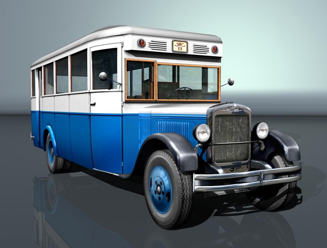 zis-8 city bus zis 3D model