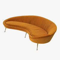 Vintage Style Curved Sofa Yellow