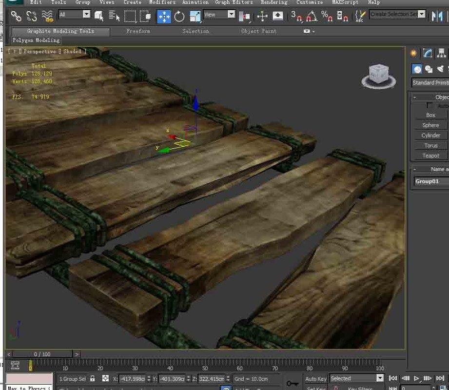 wooden bridge 3D