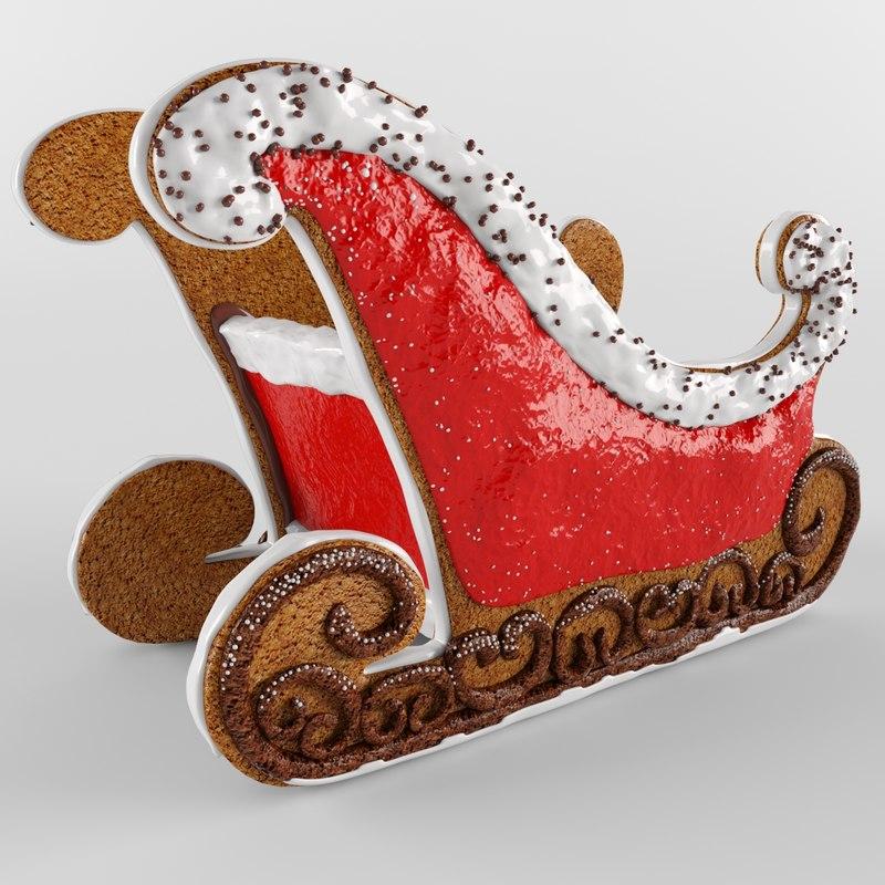 3D gingerbread sleigh model
