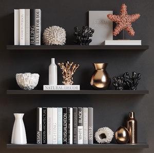 3D decorative corals books vases