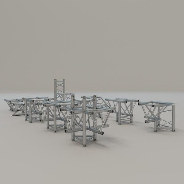 3D triangular truss corners