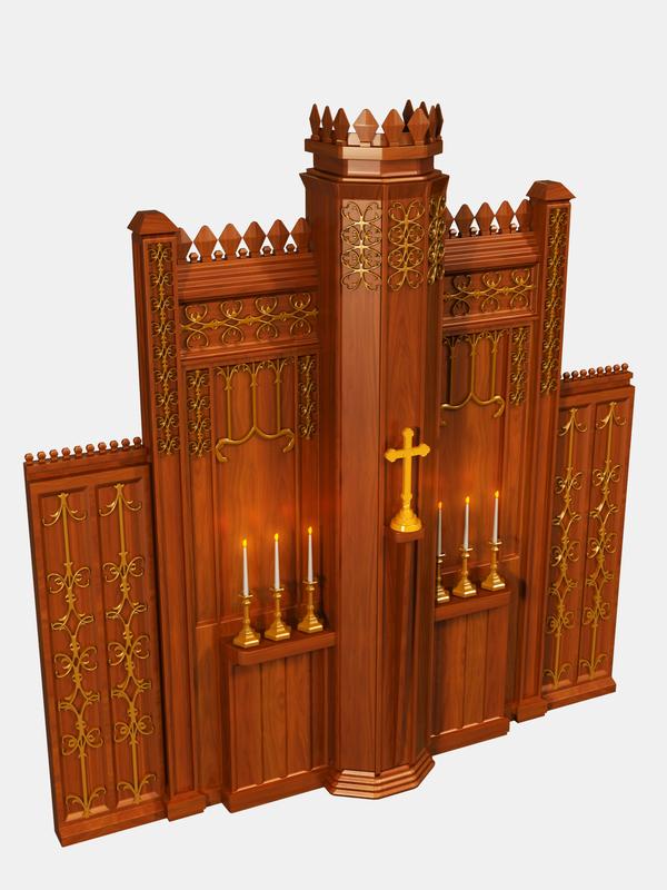 3D alter cross candles model